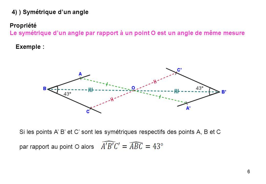 4) ) Symétrique d'un angle