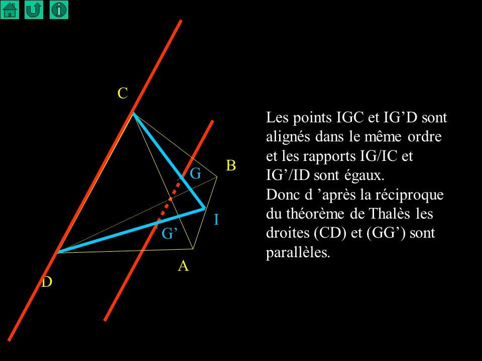 C Les points IGC et IG'D sont alignés dans le même ordre. et les rapports IG/IC et IG'/ID sont égaux.