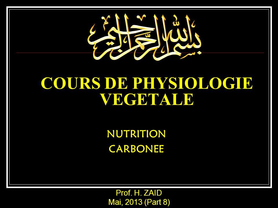 COURS DE PHYSIOLOGIE VEGETALE