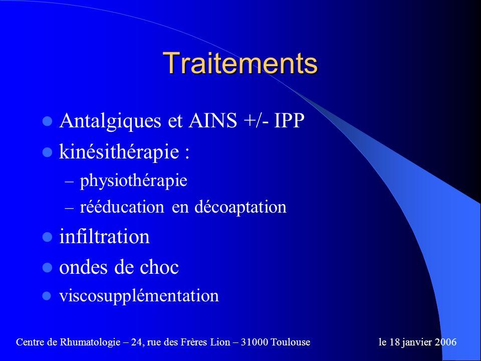 Traitements Antalgiques et AINS +/- IPP kinésithérapie : infiltration