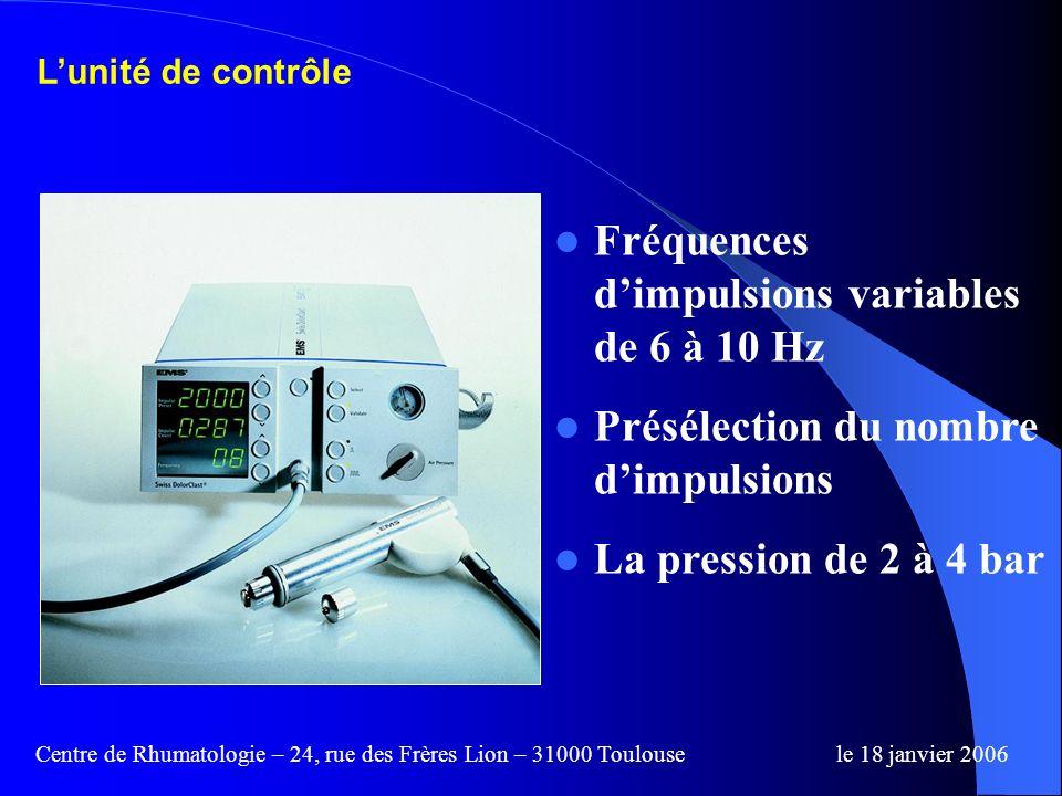 Fréquences d'impulsions variables de 6 à 10 Hz