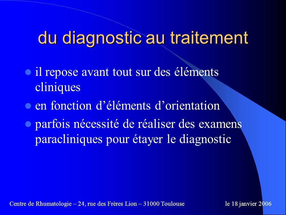 du diagnostic au traitement