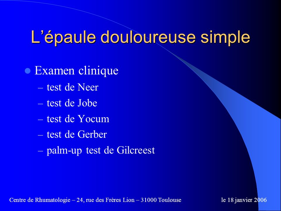 L'épaule douloureuse simple