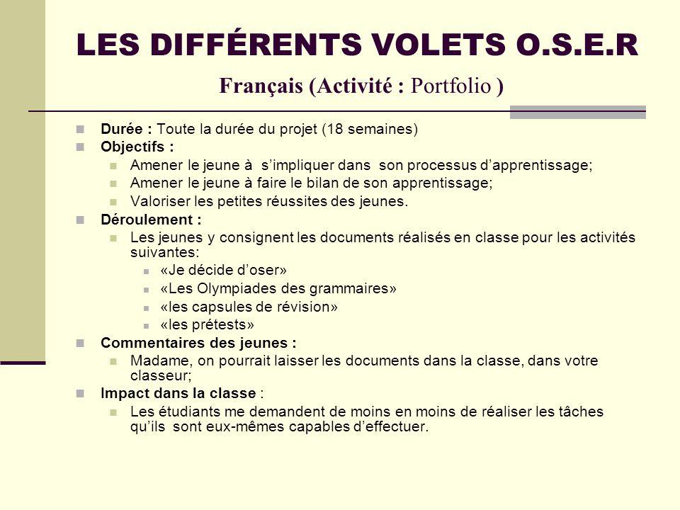 LES DIFFÉRENTS VOLETS O.S.E.R Français (Activité : Portfolio )