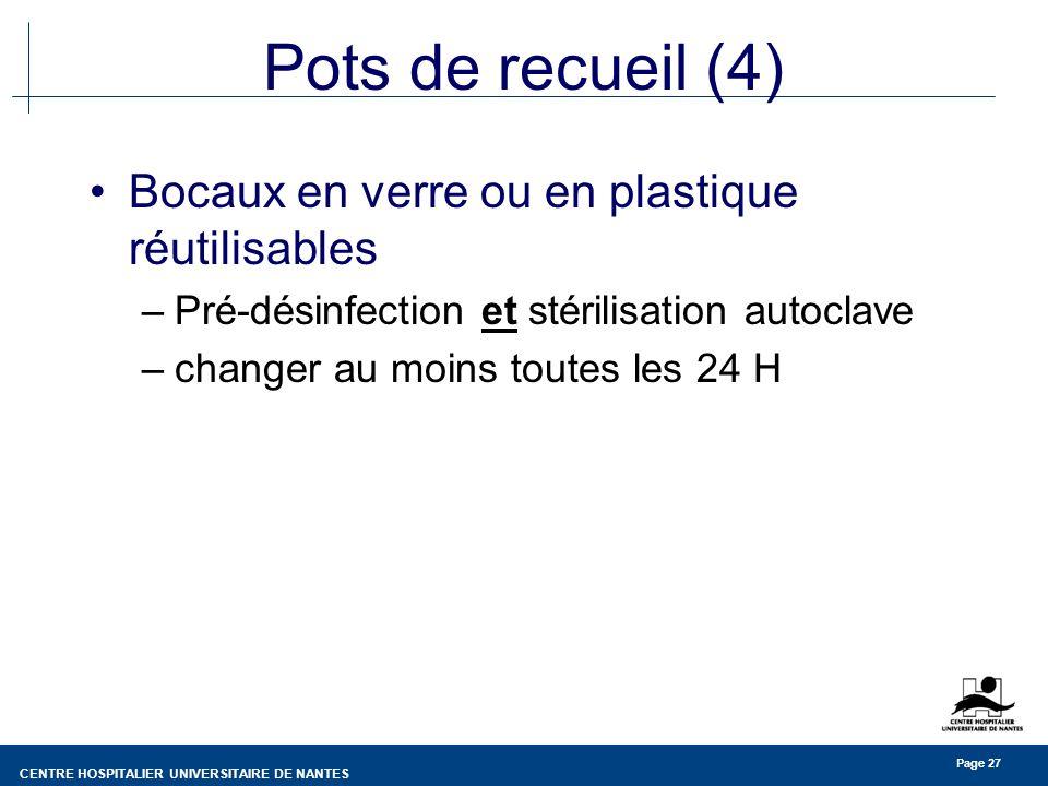 Pots de recueil (4) Bocaux en verre ou en plastique réutilisables
