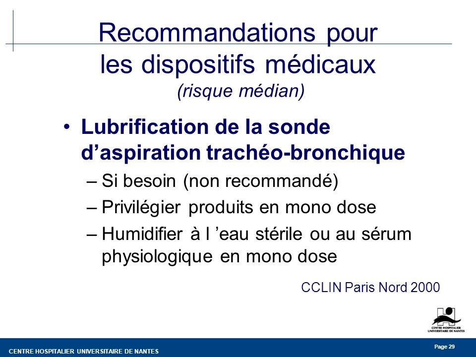 Recommandations pour les dispositifs médicaux (risque médian)