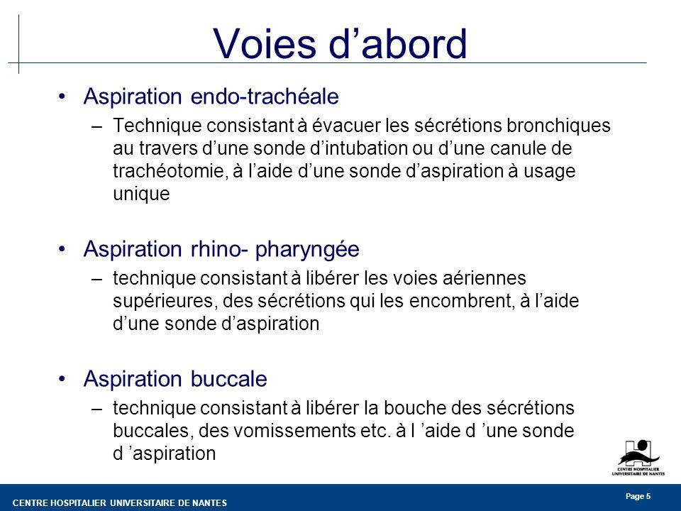 Voies d'abord Aspiration endo-trachéale Aspiration rhino- pharyngée