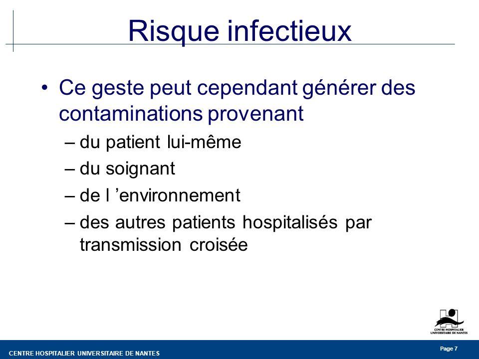 Risque infectieux Ce geste peut cependant générer des contaminations provenant. du patient lui-même.