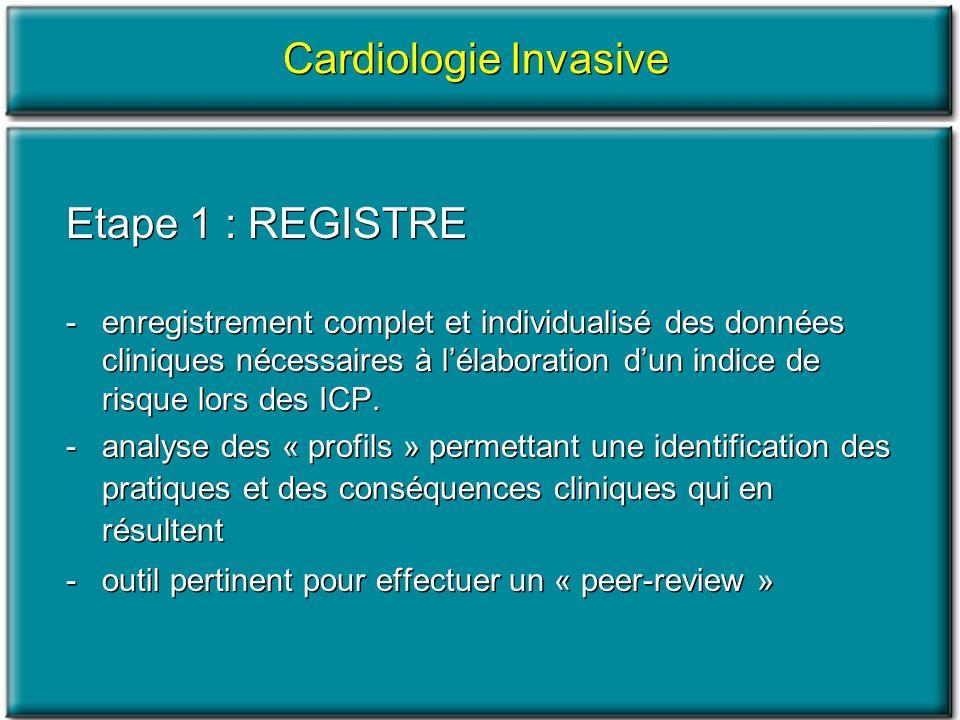 Cardiologie Invasive Etape 1 : REGISTRE