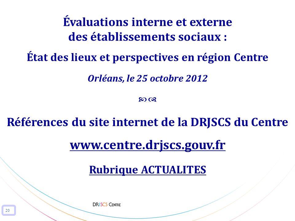 Références du site internet de la DRJSCS du Centre