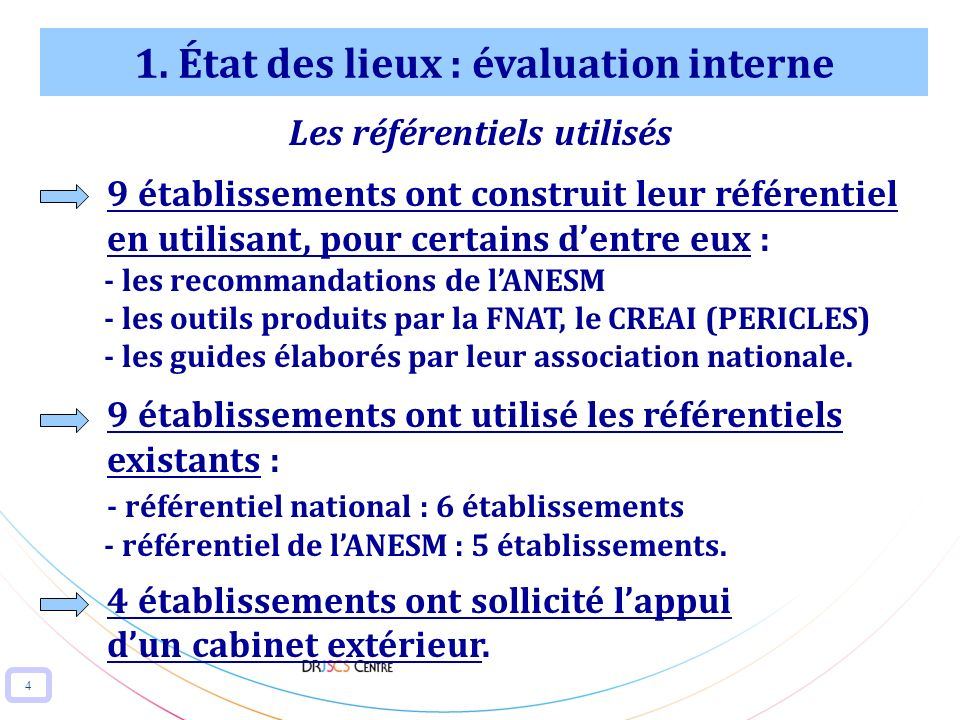 1. État des lieux : évaluation interne Les référentiels utilisés