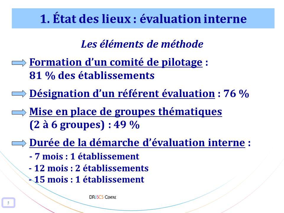 1. État des lieux : évaluation interne Les éléments de méthode