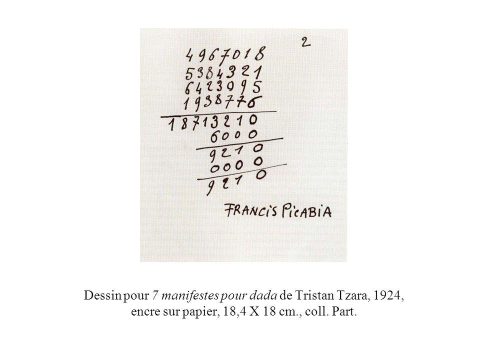 Dessin pour 7 manifestes pour dada de Tristan Tzara, 1924, encre sur papier, 18,4 X 18 cm., coll.