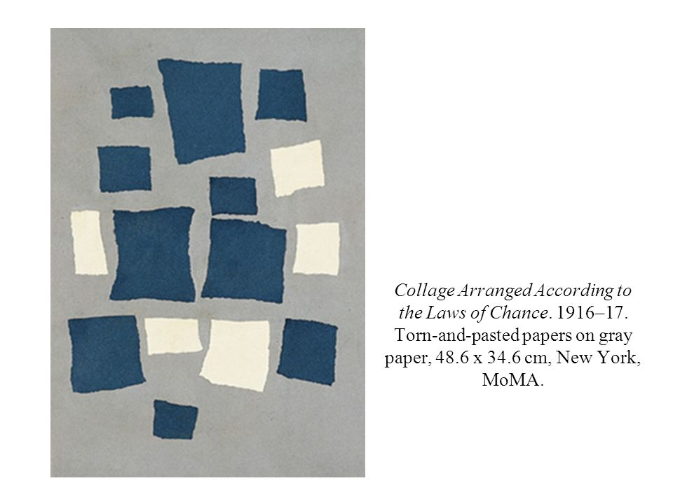 Collage Arranged According to the Laws of Chance. 1916–17