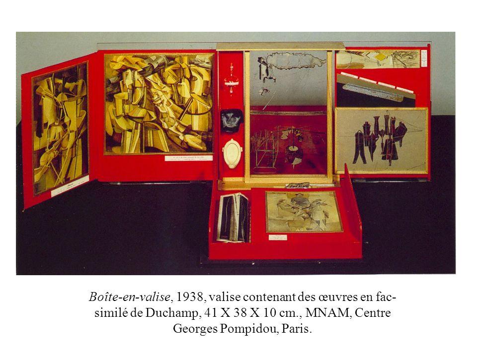 Boîte-en-valise, 1938, valise contenant des œuvres en fac-similé de Duchamp, 41 X 38 X 10 cm., MNAM, Centre Georges Pompidou, Paris.