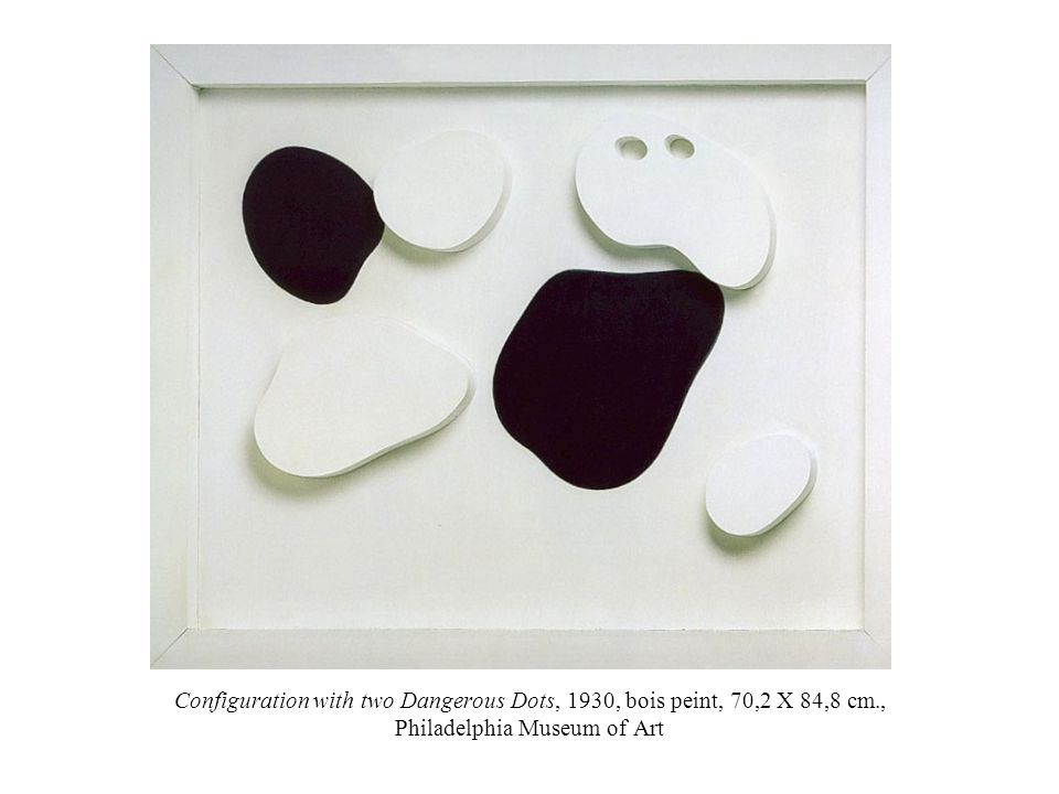 Configuration with two Dangerous Dots, 1930, bois peint, 70,2 X 84,8 cm., Philadelphia Museum of Art