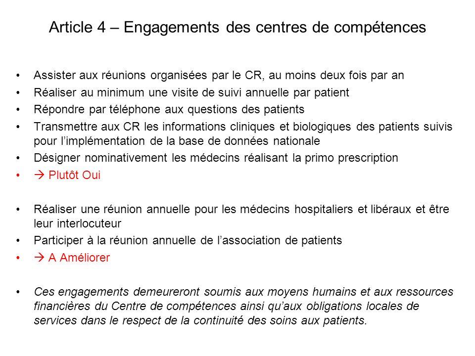 Article 4 – Engagements des centres de compétences