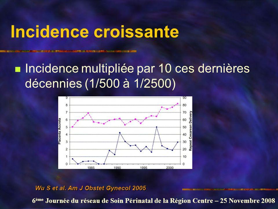 Incidence croissante Incidence multipliée par 10 ces dernières décennies (1/500 à 1/2500) Wu S et al.