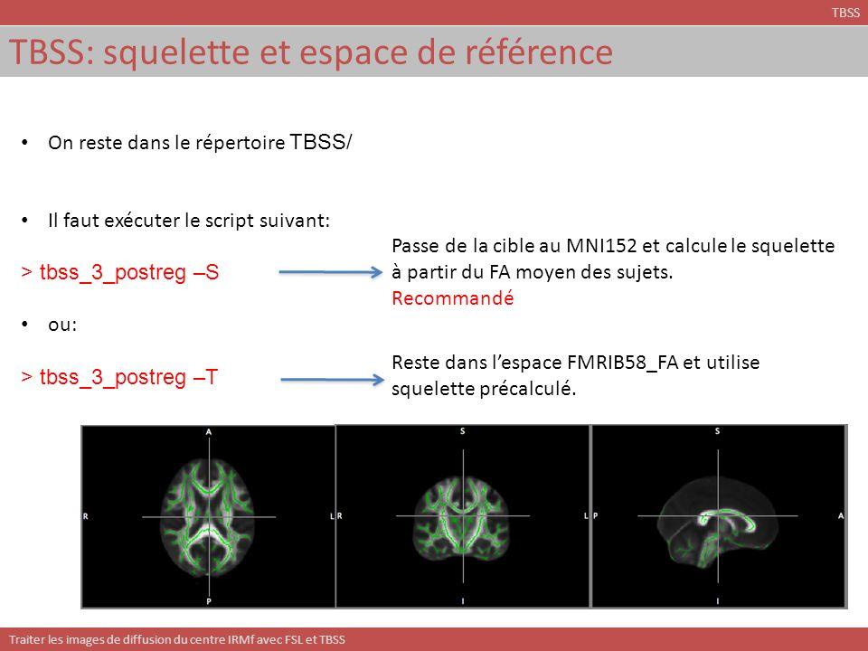 TBSS: squelette et espace de référence