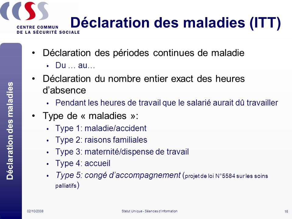 Déclaration des maladies (ITT)