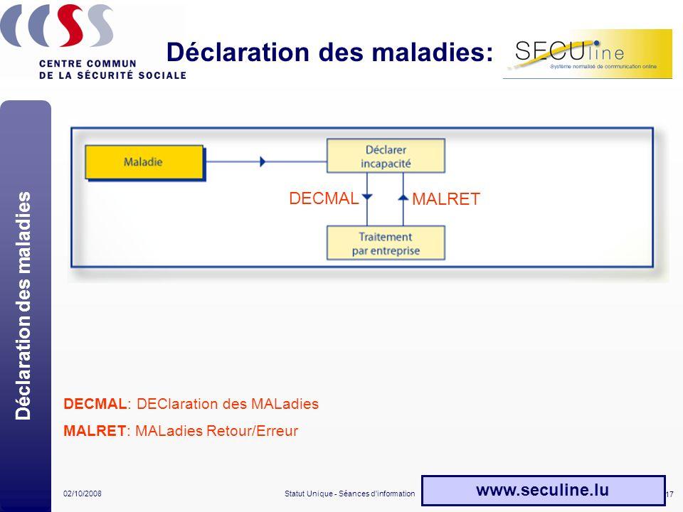 Déclaration des maladies: SECUline