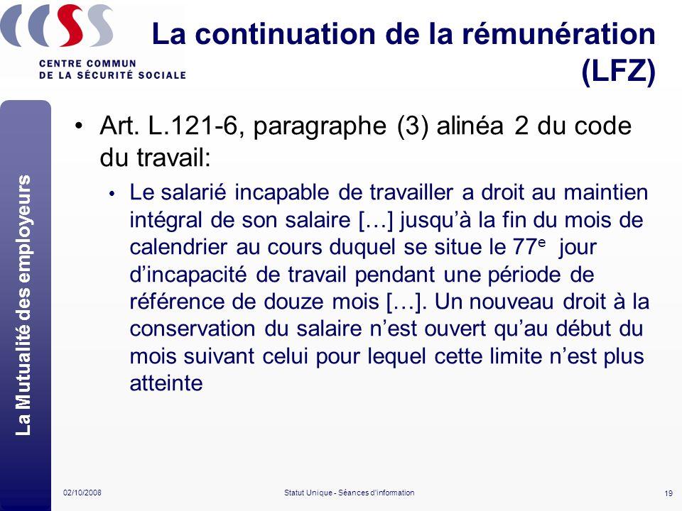 La continuation de la rémunération (LFZ)