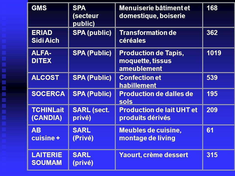 GMS SPA (secteur public) Menuiserie bâtiment et domestique, boiserie. 168. ERIAD Sidi Aich. SPA (public)