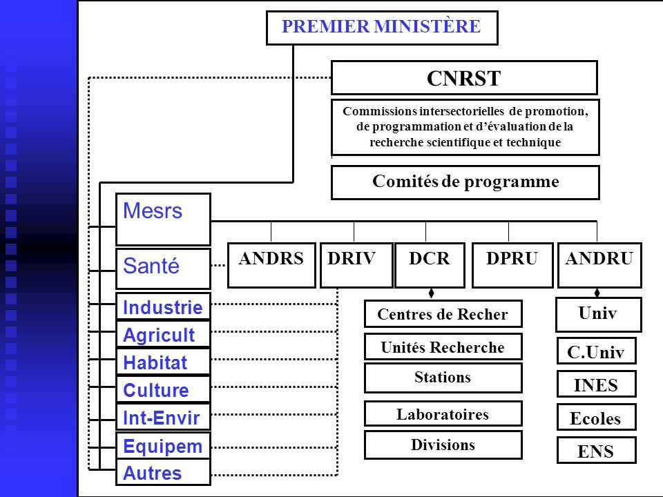 CNRST Mesrs Santé PREMIER MINISTÈRE Comités de programme ANDRS DRIV
