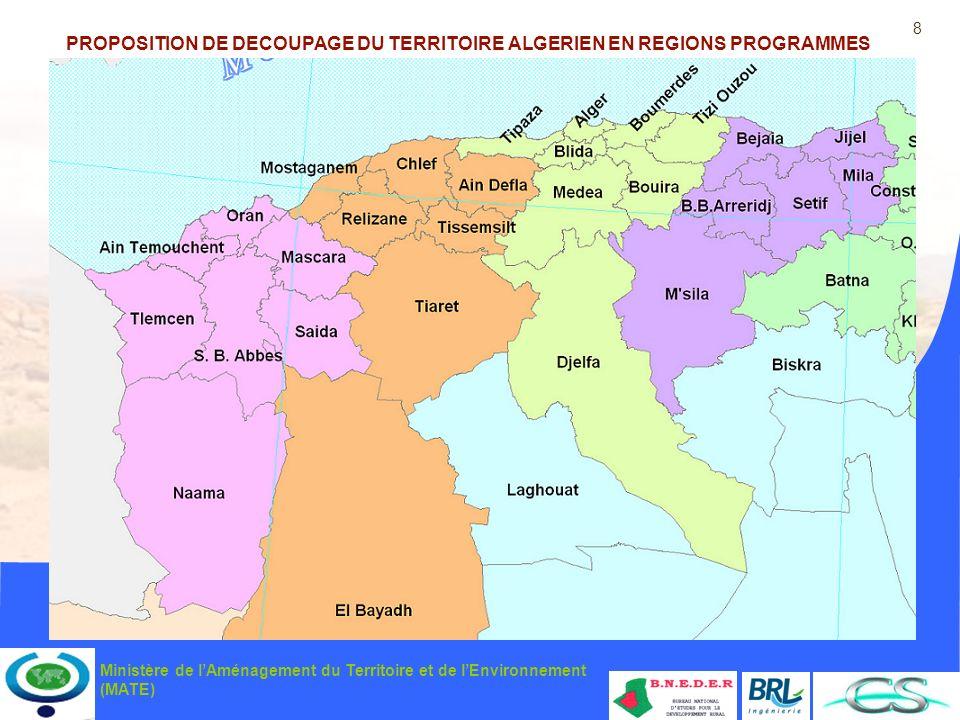 PROPOSITION DE DECOUPAGE DU TERRITOIRE ALGERIEN EN REGIONS PROGRAMMES