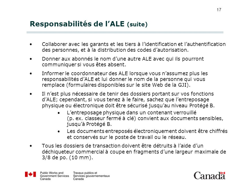 Responsabilités de l'ALE (suite)
