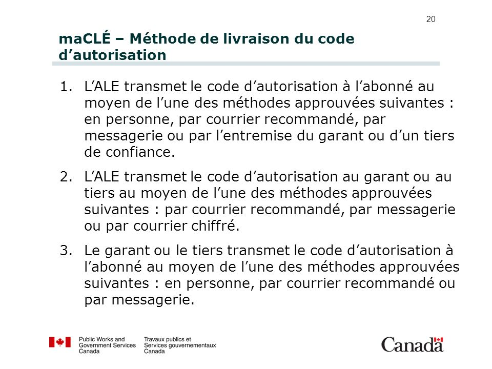maCLÉ – Méthode de livraison du code d'autorisation