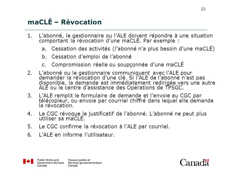 maCLÉ – Révocation L'abonné, le gestionnaire ou l'ALE doivent répondre à une situation comportant la révocation d'une maCLÉ. Par exemple :