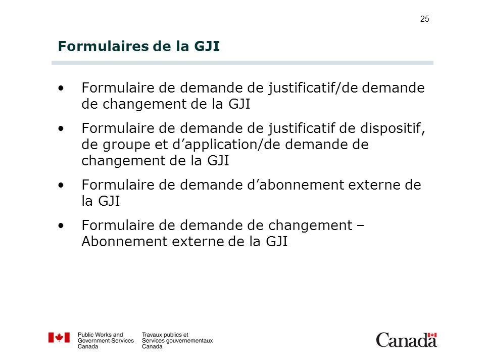 Formulaires de la GJI Formulaire de demande de justificatif/de demande de changement de la GJI.