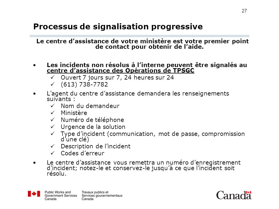 Processus de signalisation progressive