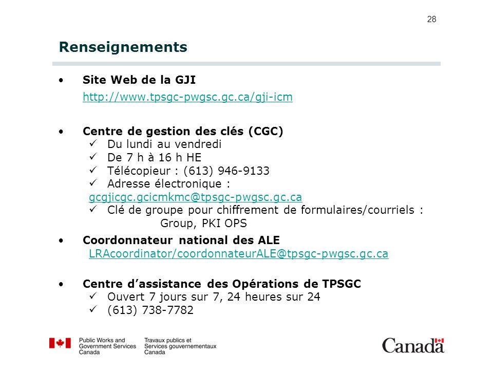 Renseignements Site Web de la GJI http://www.tpsgc-pwgsc.gc.ca/gji-icm