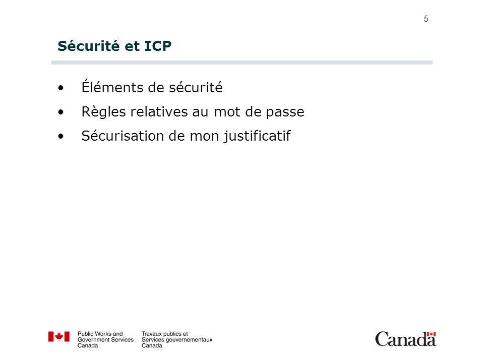 Sécurité et ICP Éléments de sécurité. Règles relatives au mot de passe.
