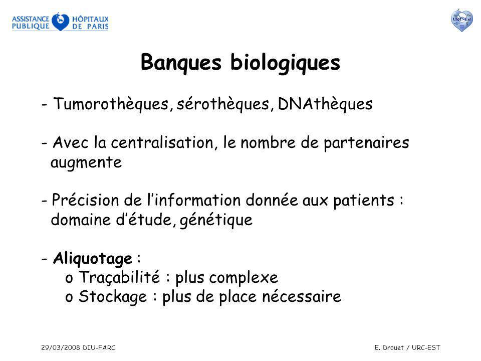 Banques biologiques - Tumorothèques, sérothèques, DNAthèques