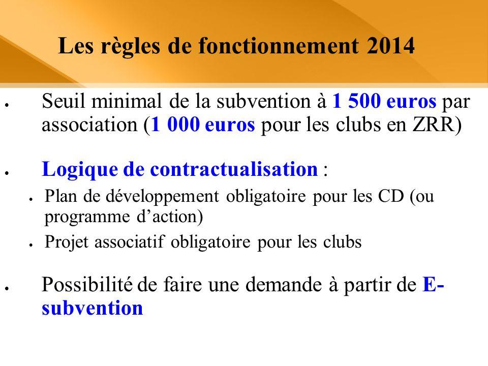 Les règles de fonctionnement 2014