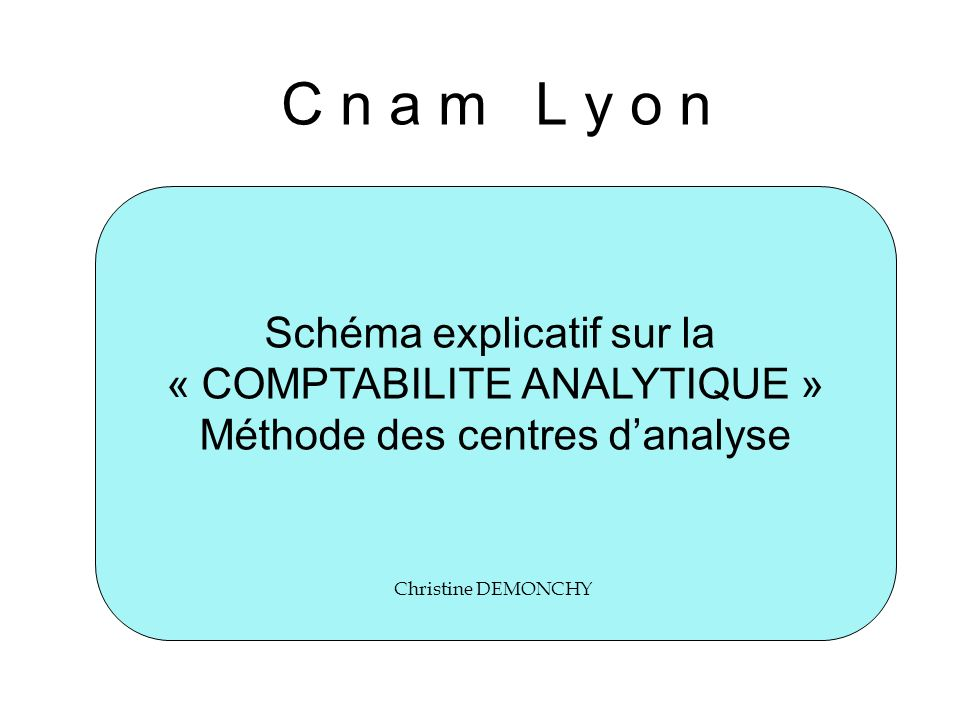 C n a m L y o n Schéma explicatif sur la « COMPTABILITE ANALYTIQUE »
