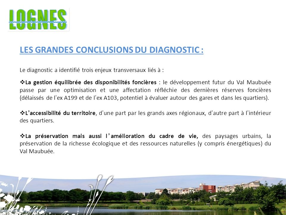 LES GRANDES CONCLUSIONS DU DIAGNOSTIC :