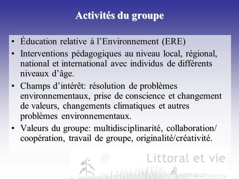 Activités du groupe Éducation relative à l'Environnement (ERE)