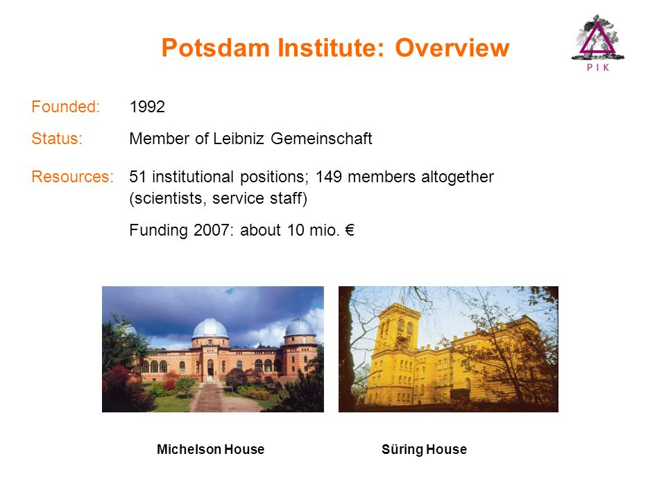 Potsdam Institute: Overview