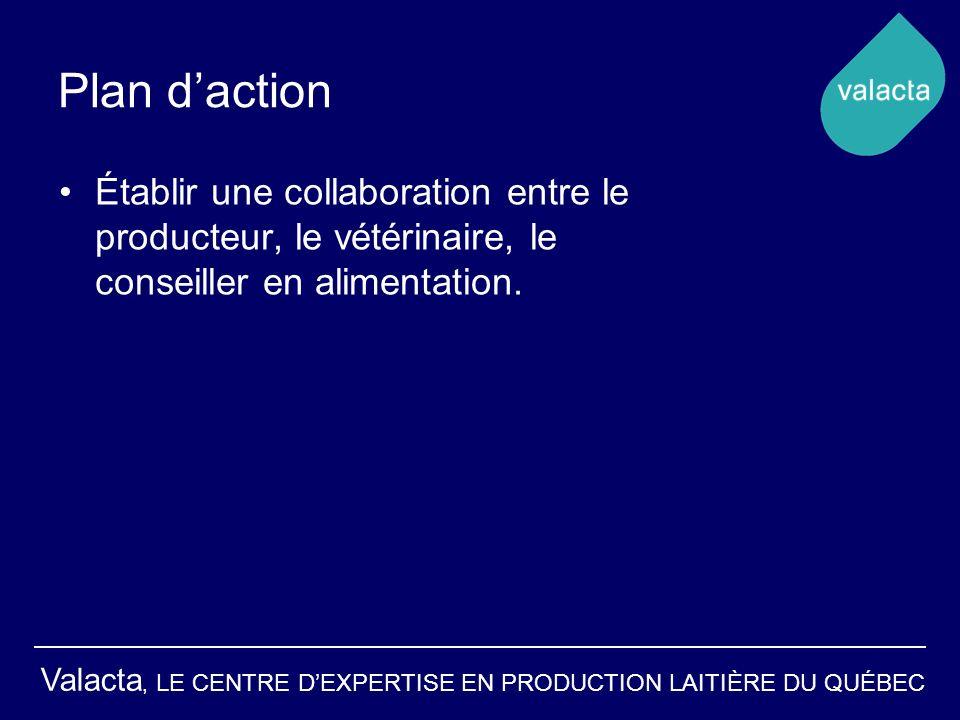 Plan d'action Établir une collaboration entre le producteur, le vétérinaire, le conseiller en alimentation.