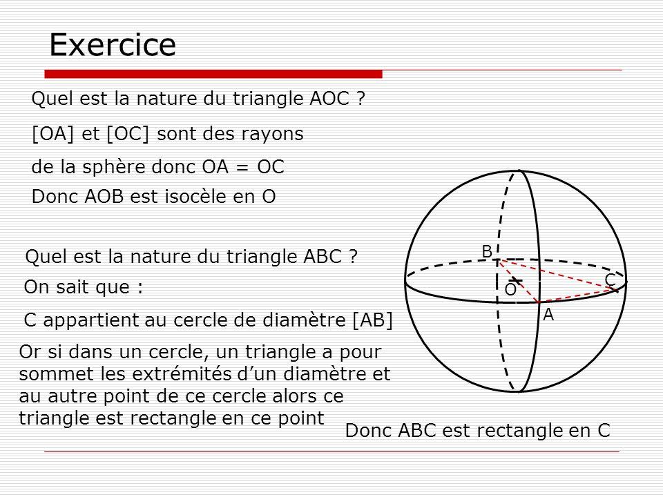 Exercice Quel est la nature du triangle AOC