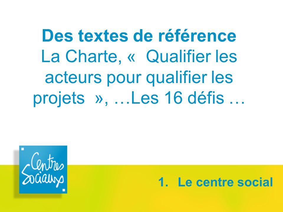 Des textes de référence La Charte, « Qualifier les acteurs pour qualifier les projets », …Les 16 défis …