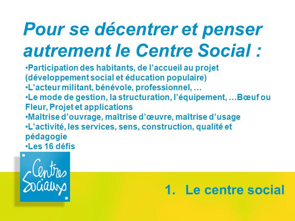 Pour se décentrer et penser autrement le Centre Social :