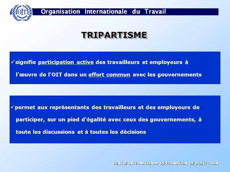 TRIPARTISME signifie participation active des travailleurs et employeurs à. l'œuvre de l'OIT dans un effort commun avec les gouvernements.
