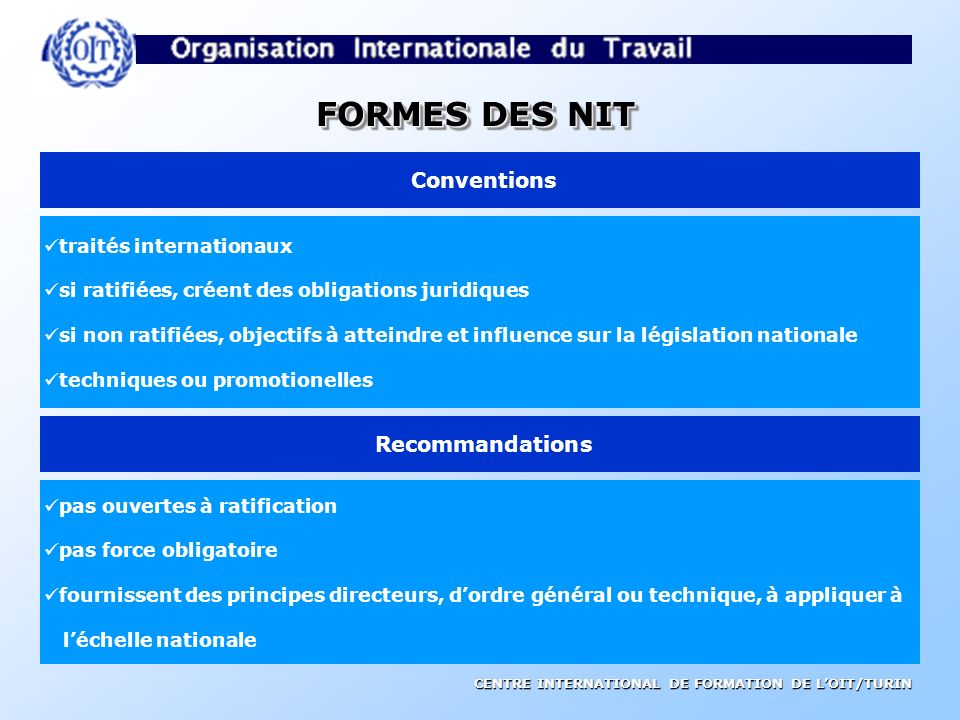 FORMES DES NIT Conventions Recommandations traités internationaux