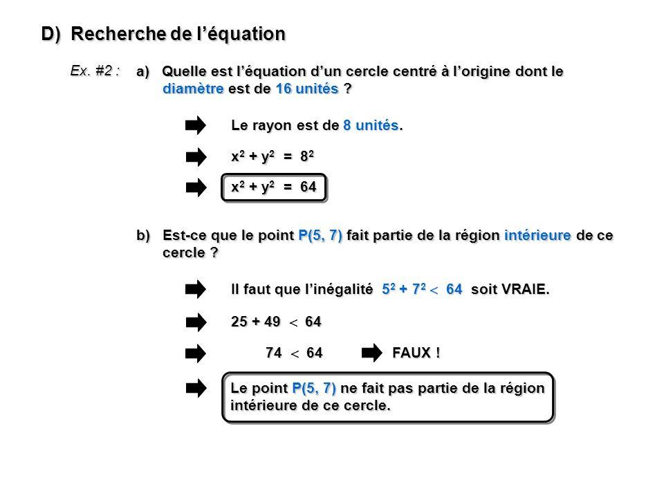 D) Recherche de l'équation