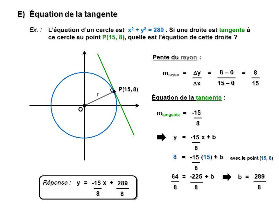 E) Équation de la tangente